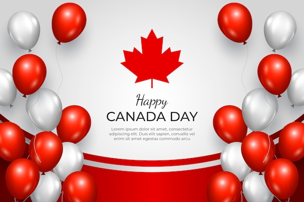 Realistic canada day balloons background Premium Vector