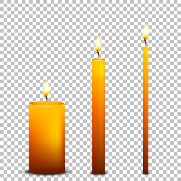 Realistic candle icon set  on transparent background.  templates. Premium Vector