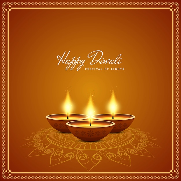 Realistic candles happy diwali background Free Vector