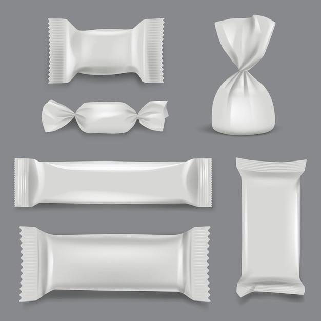 リアルなキャンディーパッケージ。お菓子のラッパー紙パックスーパーマーケットギフトプラスチックモックアップテンプレート。チョコレート菓子イラストのホイルパッケージとプラスチックパック Premiumベクター