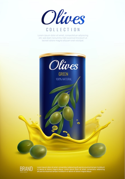 Realistic canned olives advertising composition Free Vector