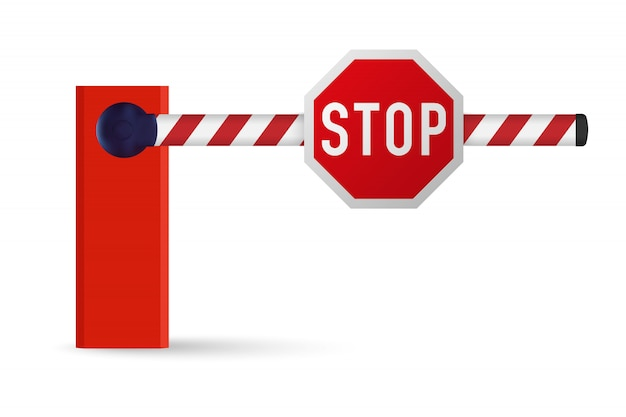 Realistic car barrier with stop sign. Premium Vector