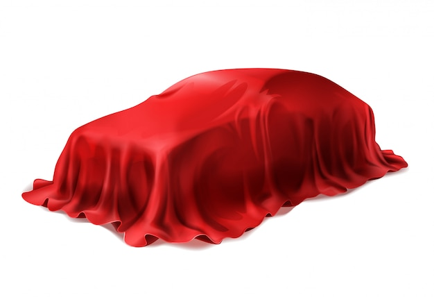 白い背景で隔離された赤い絹で覆われた現実的な車。 無料ベクター