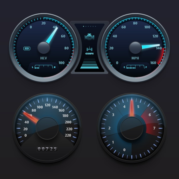 Realistic car dashboard speedometers with dial meter. rapid symbols vector set. illustration of dashboard with speedometer panel Premium Vector