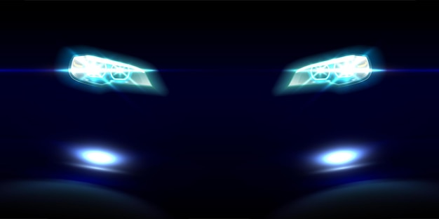 Realistic car front lights on black Free Vector