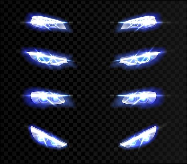 Luci anteriori auto realistiche in diverse forme su trasparente Vettore gratuito