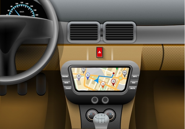 Realistic car interior with auto navigation system and gps map ... on