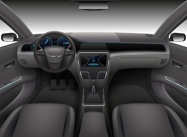 Realistic car interior with rudder, dashboard front panel and auto windshield vector illustration Premium Vector