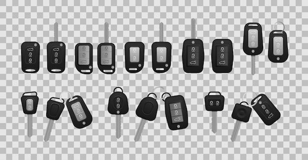 白い背景で隔離のリアルな車のキー黒い色 Premiumベクター