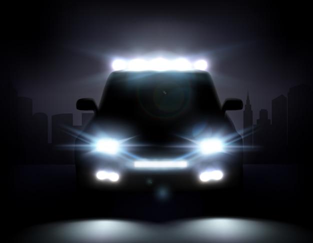 Realistic car lights illustration Free Vector