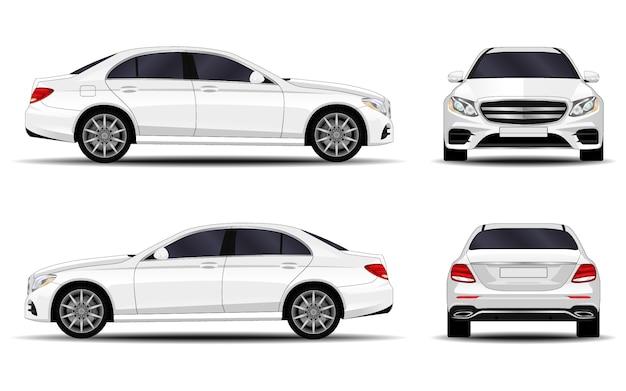 現実的な車。セダン。正面図;側面図;背面図。 Premiumベクター