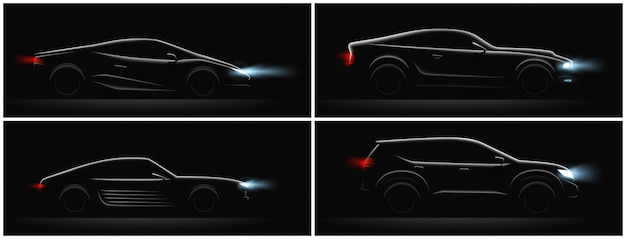 Realistic car silhouete dark set of four profiles with different car body and glowing running lights vector illustration Free Vector