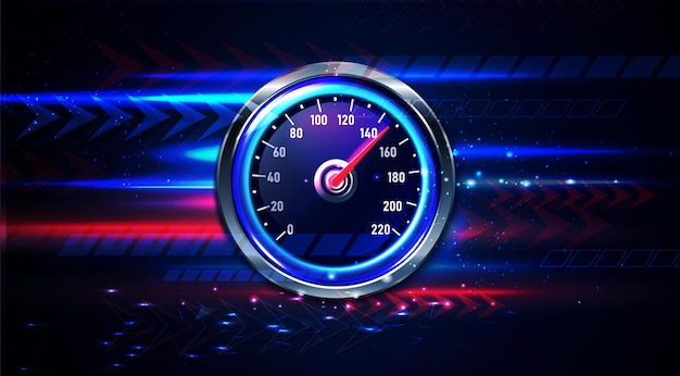 Realistic car speedometer background Free Vector