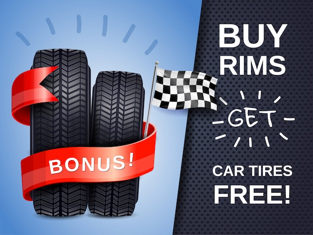 Realistic car tires ad poster Free Vector