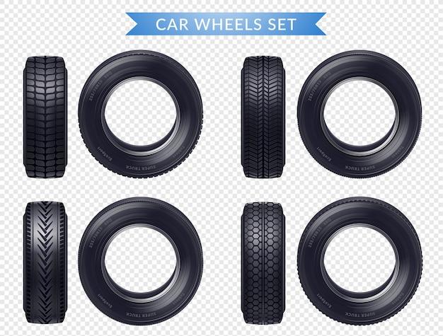 Реалистичные автомобильные шины прозрачный набор Бесплатные векторы
