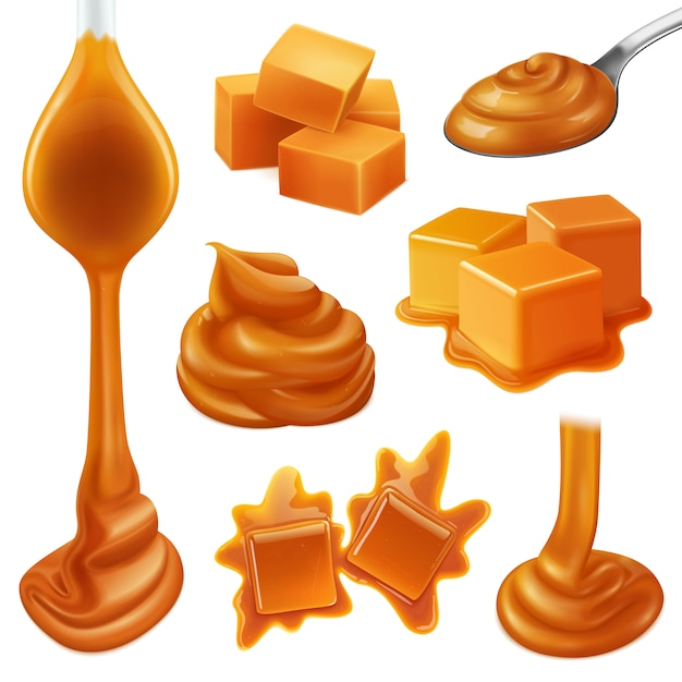 Realistic caramel candies icon set with creamy liquid and creamy drops of caramel Free Vector