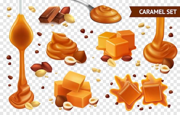 Реалистичный карамельный шоколадный ореховый набор с различными формами вкуса и состояния Бесплатные векторы