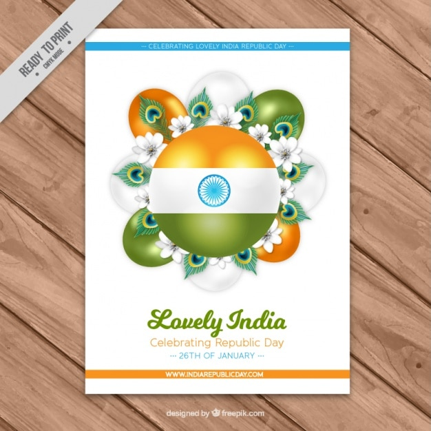Realistic card with flowers and balloons for indian republic day