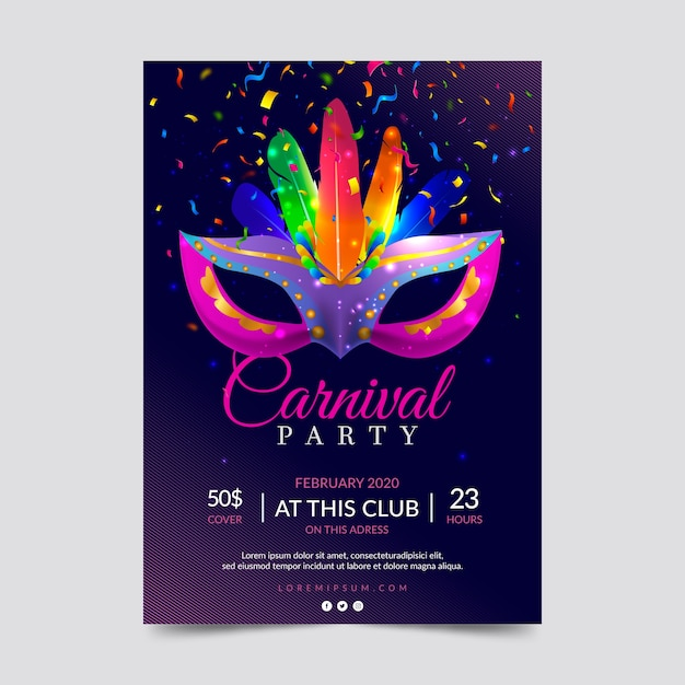 Realistic carnival party poster template Free Vector
