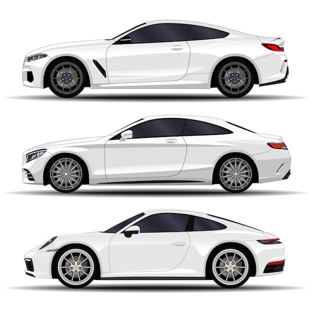 リアルな車セット。スポーツクーペ。側面図 Premiumベクター