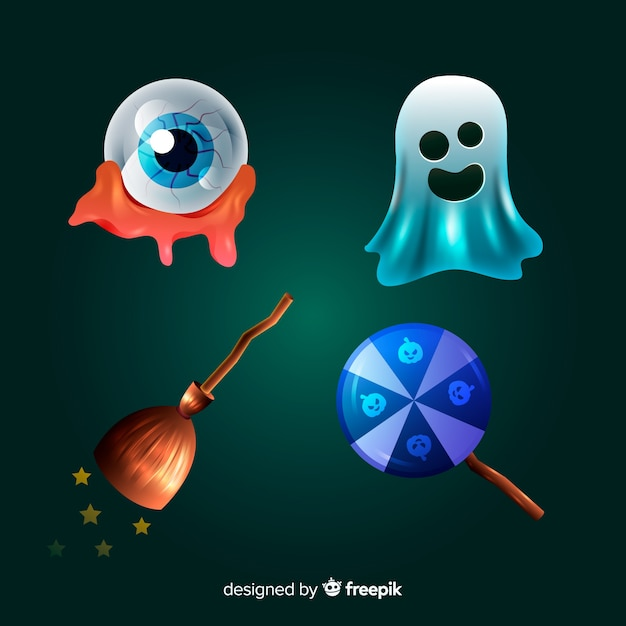 Realistic cartoon halloween element collection Free Vector