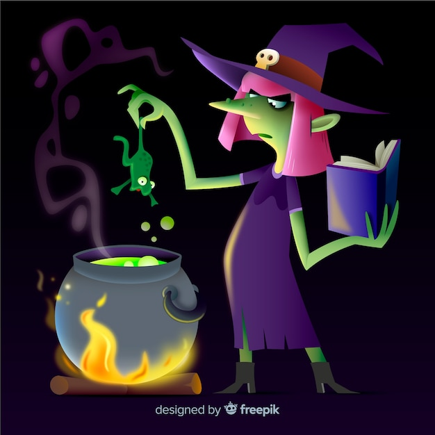 Realistic cartoon haloween witch Free Vector