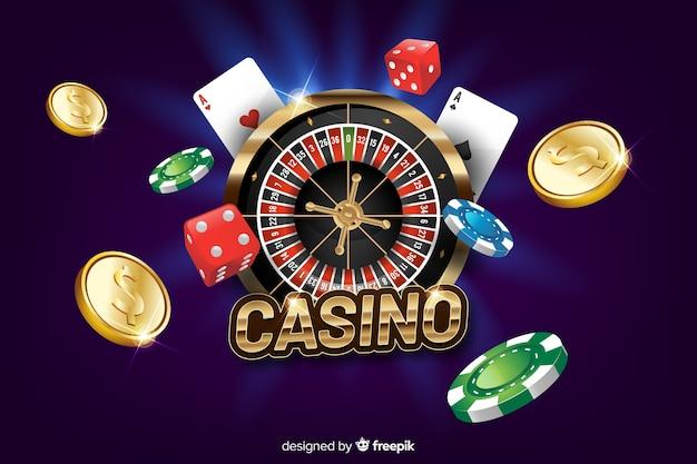 Realistic casino background Free Vector