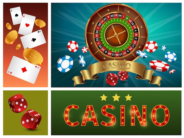Realistic casino bright composition with gambling roulette poker chips cards gold coins and dices Free Vector