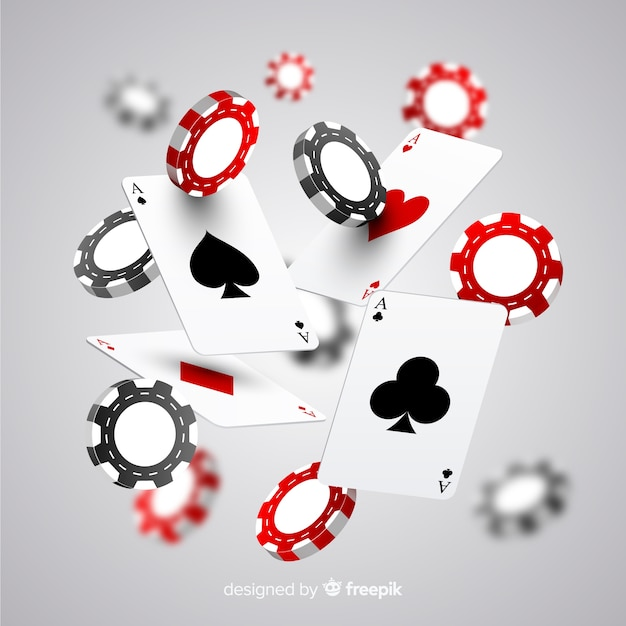 Realistic casino chips and cards falling Free Vector
