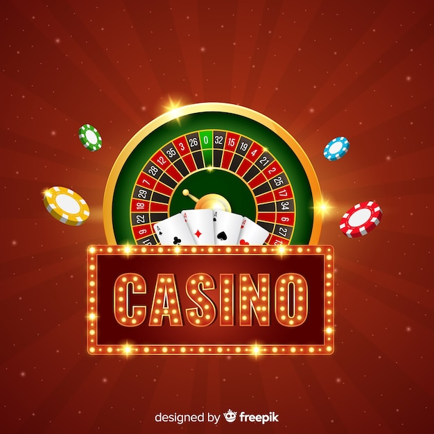 Realistic casino elements background Free Vector