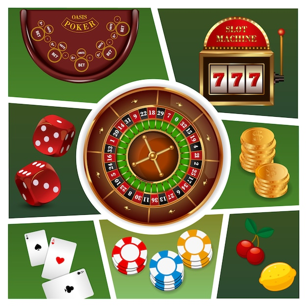 Realistic casino elements composition with roulette slot machine gold coins poker chips playing cards dices isolated Free Vector