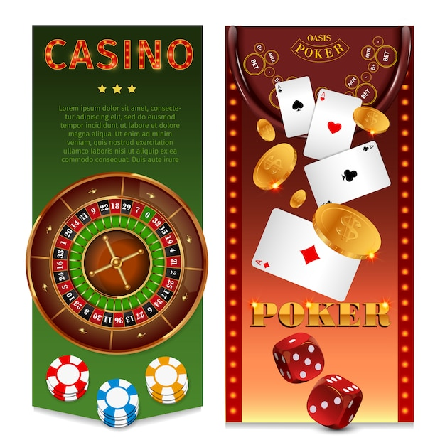 Realistic casino games vertical banners with roulette chips playing cards poker table gold coins dice Free Vector