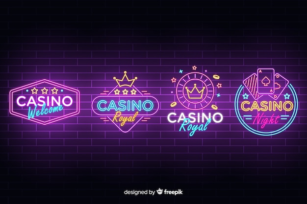Realistic casino neon sign collection Free Vector