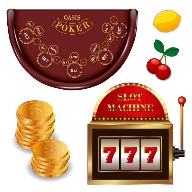 I giochi online realistici del casinò hanno messo con il limone ciliegia della slot machine del tavolo da poker delle monete di oro isolato Vettore gratuito