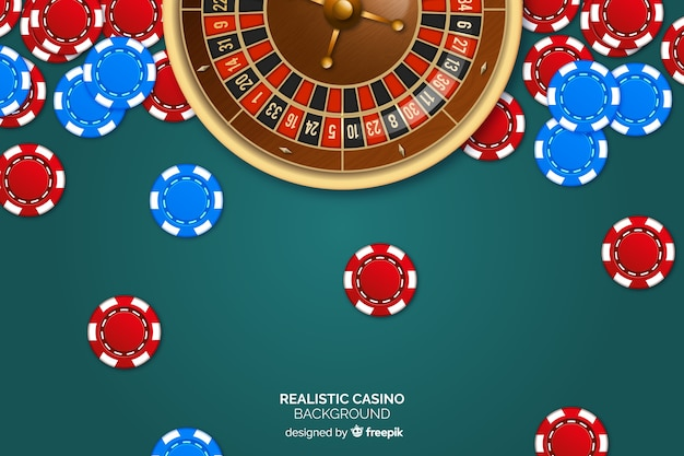 Realistic casino roulette background with chips Free Vector