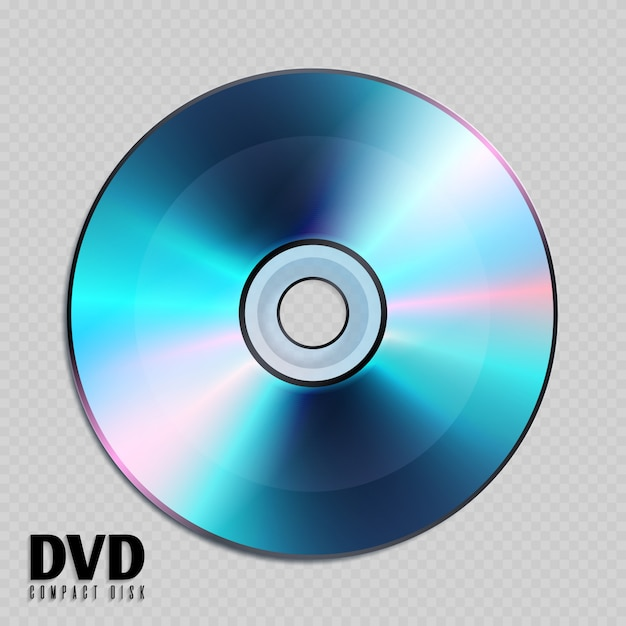 Realistic cd or dvd compact disk close up illustration. Premium Vector