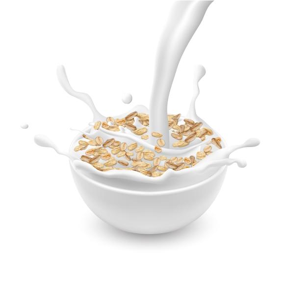 Realistico scodella in ceramica con fiocchi d'avena o muesli, con latte versando bianco e spruzza isolato Vettore gratuito