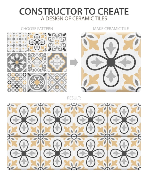 Realistic ceramic floor tiles vintage pattern with one type or set composed of different tiles Free Vector