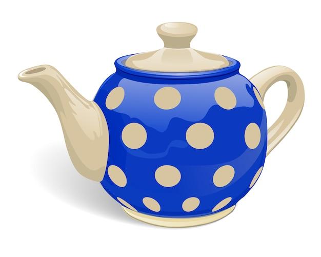 Realistic ceramic teapot. blue with beige peas. Premium Vector