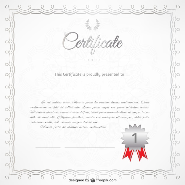Realistic certificate template vector free download realistic certificate template free vector yelopaper Image collections