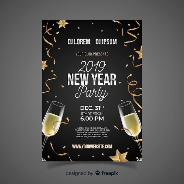 realistic champagne new year party poster template free vector