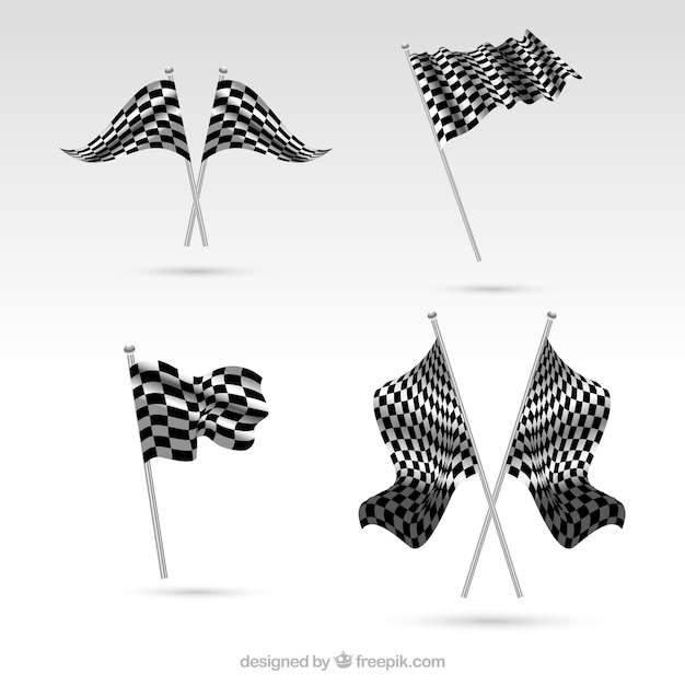 Realistic checkered flag collection Free Vector