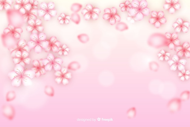 Realistic cherry flowers background Free Vector