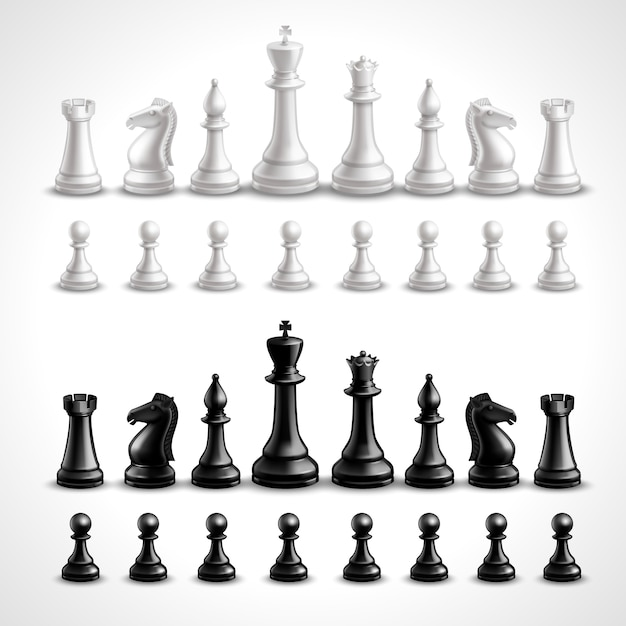 Realistic chess figures Free Vector