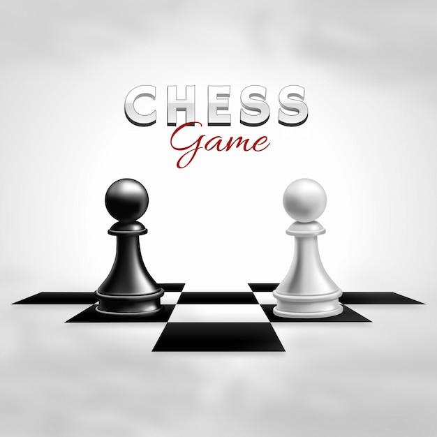 Realistic chess game Premium Vector