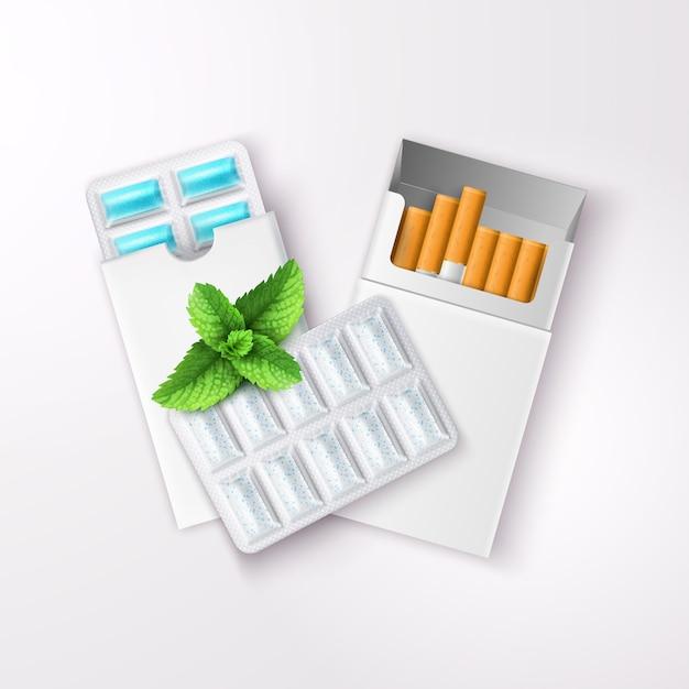 Реалистичная жевательная резинка в блистерной упаковке и открытая пачка сигарет с листьями мяты перечной Бесплатные векторы