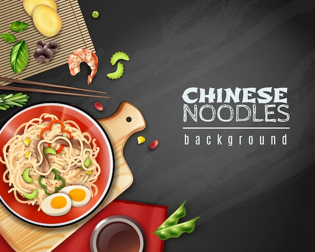 Realistic chinese noodles background Free Vector