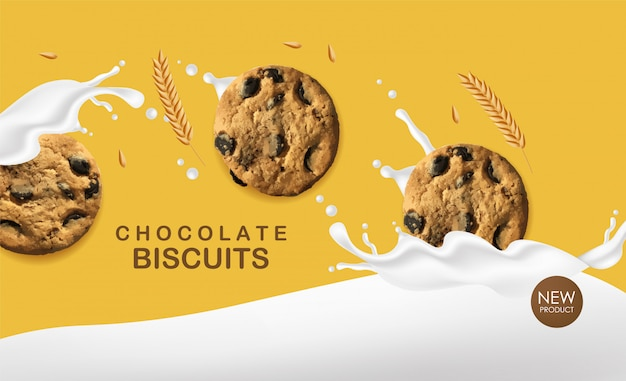 Realistic chocolate biscuits, wheat cookies with splash milk, delicious dessert, sweet product bakery  illustration Premium Vector