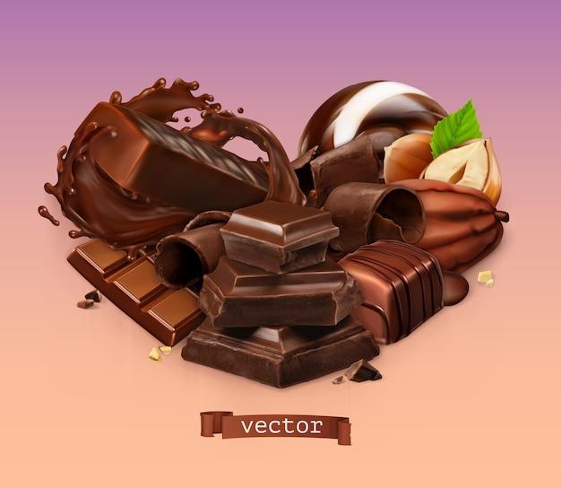 リアルなチョコレート。チョコレートバー、スプラッシュ、キャンディー、ピース、削りくず、カカオ豆、ヘーゼルナッツ。 Premiumベクター