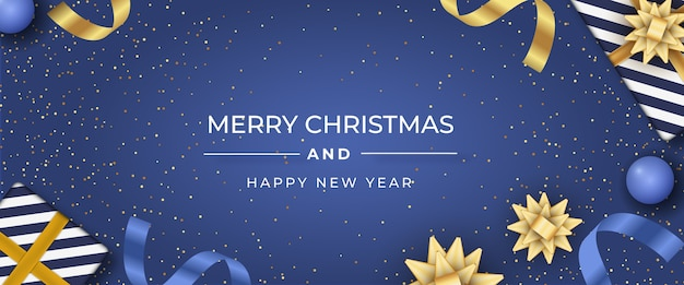 Realistic christmas background in elegant style Free Vector